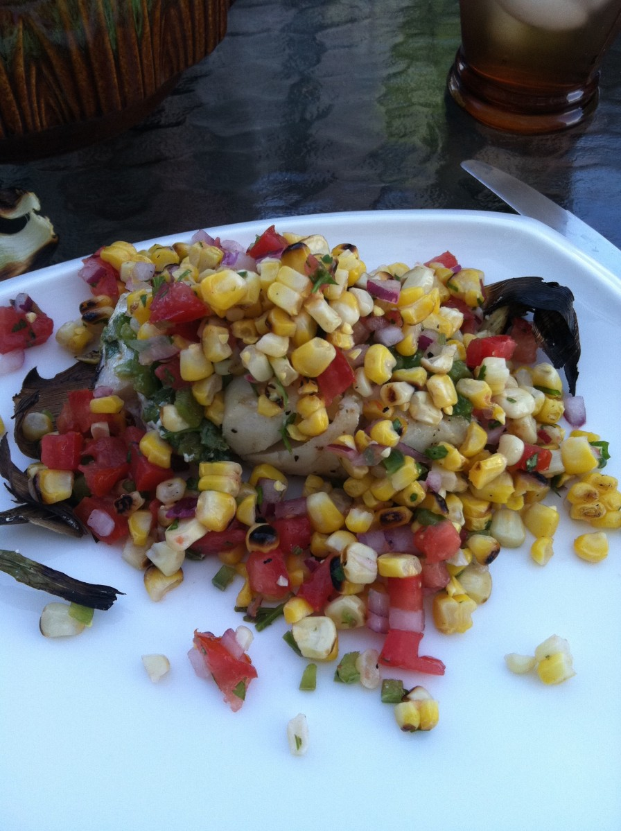 cod with grilled corn salsa