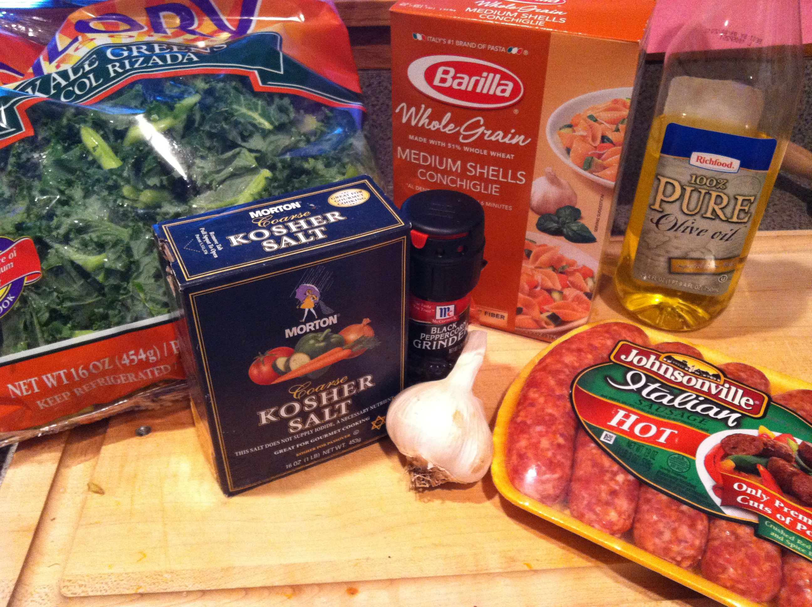 whole wheat pasta with sausage and kale