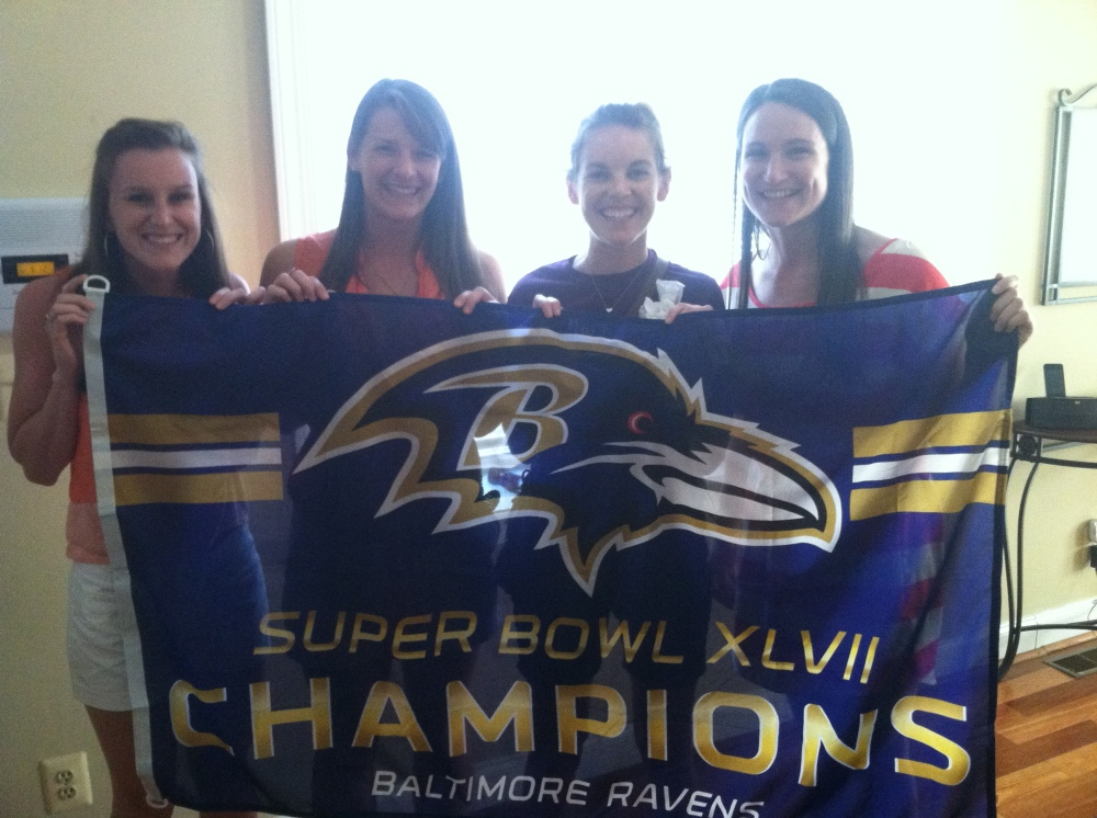 Roommates with our new Ravens flag, courtesy of Travis!