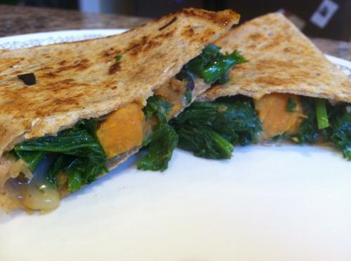 black bean sweet potato & kale quesadillas | spill the beans
