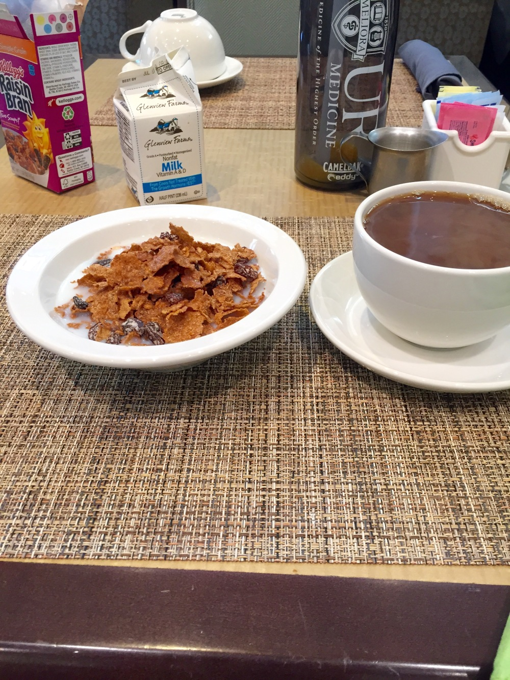 My go-to hotel breakfast. A Kindle is the perfect meal companion when you're eating alone.